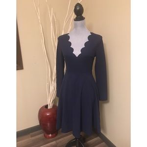 Shein long sleeve navy dress with scalloped v-neck